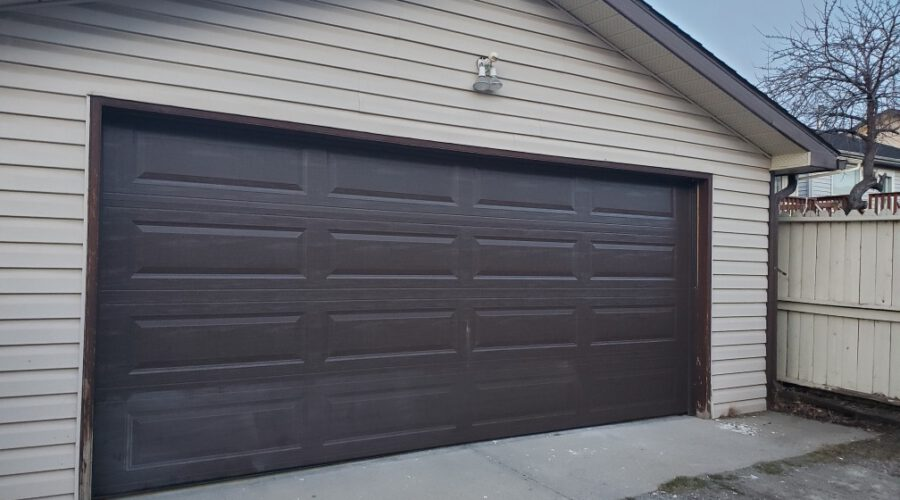 Old brown garage door